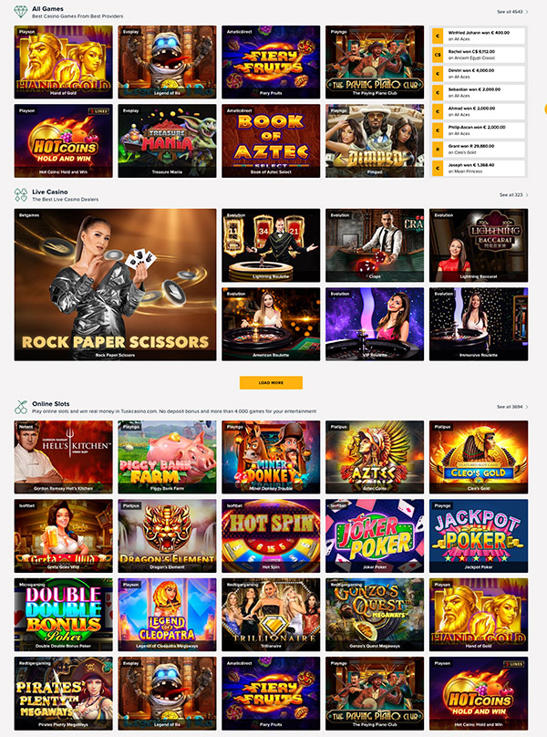 Tusk casino games